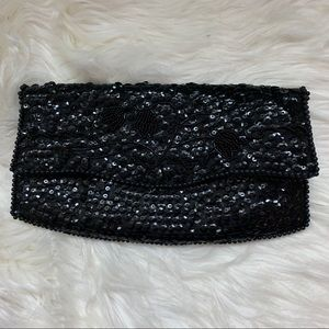 Vintage • La Regale Black Sequin Clutch